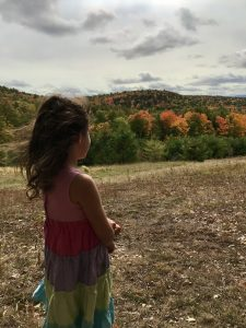 Contest Entry #17 - Colorful Thoughts - Profile of a child wearing a dress standing in a field looking at hills of fall foliage