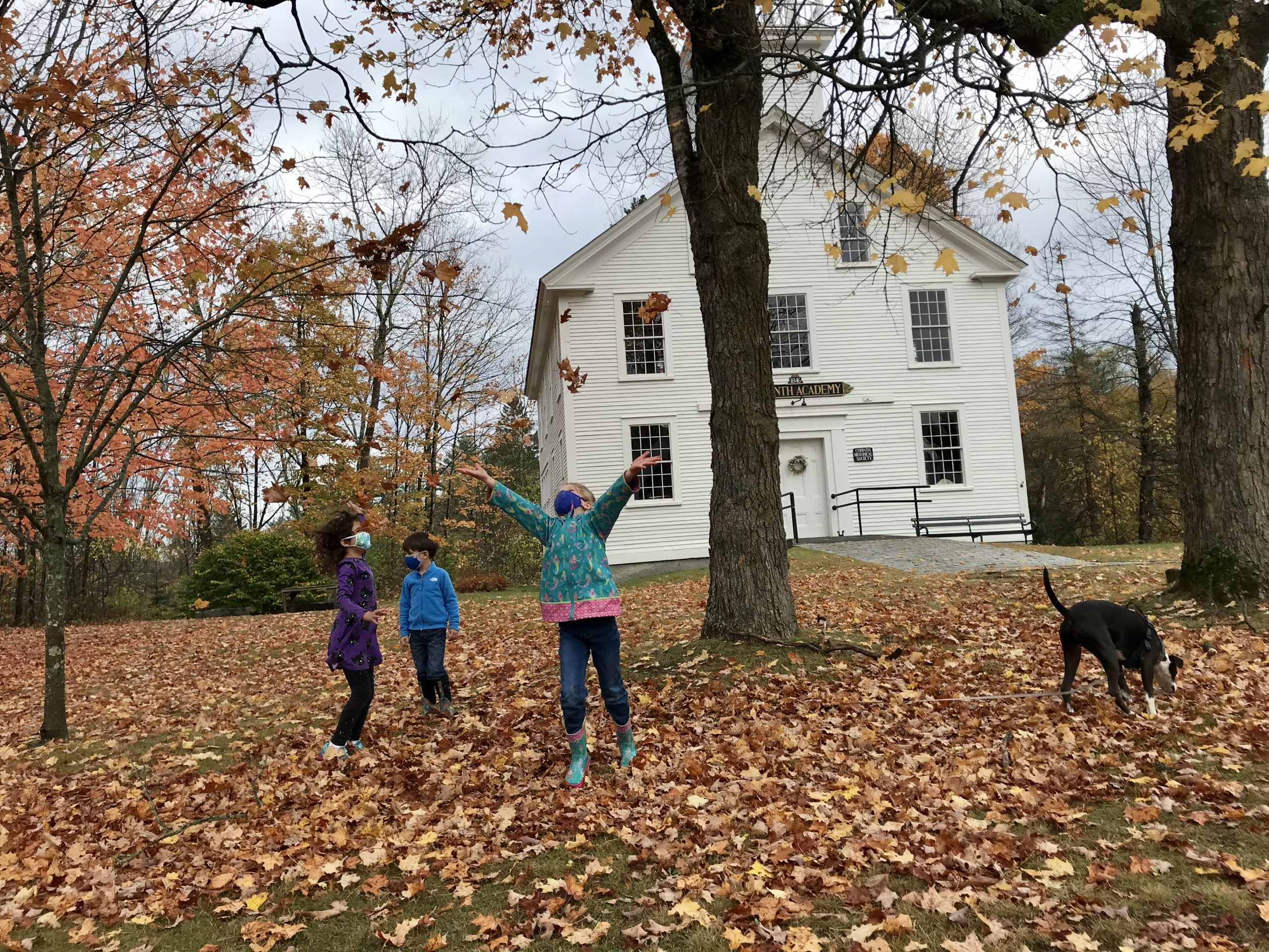 Contest Entry #11 - Excited for Fall - 3 children and a dog playing in the leaves in front of the Corinth, VT Academy Building