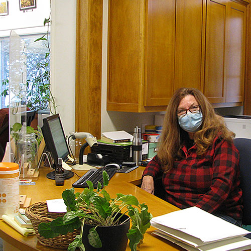 A dedicated volunteer at the circulation desk