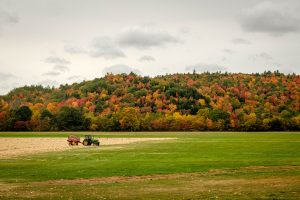 Contest Entry #4 - Tractor - Tractor in a field with Fall Foliage on a Hill behind